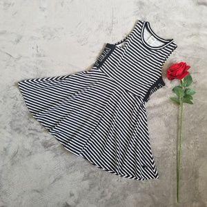 PINK by VS Black White Striped Skater Dress -Sz XS